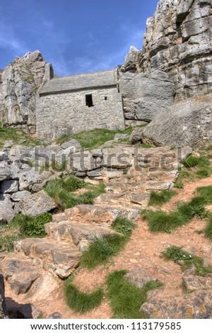 St Govans Church ruins in Pembrokeshire - stock photo