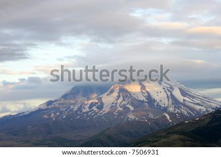 St Helen volcano at sunset, Washington - stock photo