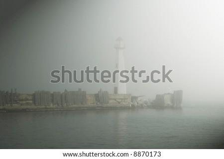 St. Ignace Michigan Harbor Light - stock photo