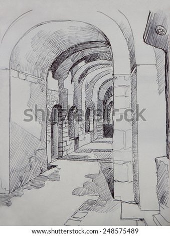 St. Irene christian church interior in Istanbul, Turkey, ink drawing sketch on toned paper - stock photo