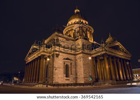 St. Isaac's Cathedral. city, night, winter - stock photo