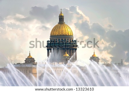 St. Isaac's Cathedral in St. Petersburg, Russia - stock photo