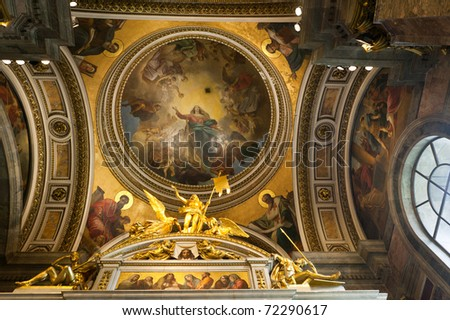 St. Isaac's Cathedral Interior. The interior was originally decorated with scores of paintings by Carlo Brullo and other great Russian masters of the day. - stock photo