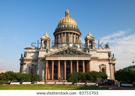 St. Isaac's Cathedral, the facade of the blue sky - stock photo