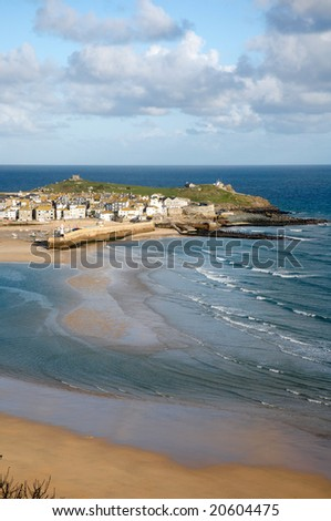St. Ives at low tide, Cornwall UK. - stock photo