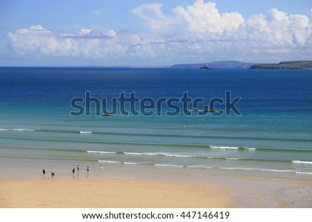 St Ives; Cornwall - England; beach, tide - stock photo