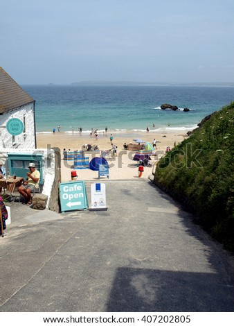 ST. IVES, CORNWALL, UK. JUNE 18, 2010. The slipway entrance to Porthwidden beach at St. Ives in Cornwall, UK. - stock photo