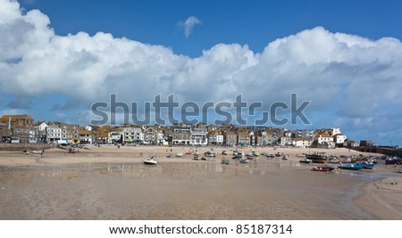 St Ives harbor at low tide in Cornwall - stock photo