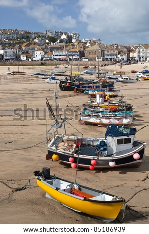 St Ives harbor at low tide on the North Coast of Cornwall - stock photo