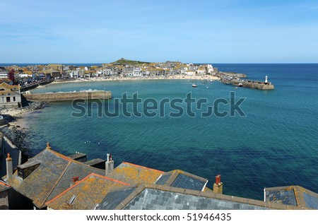 St. Ives harbour in Cornwall UK. - stock photo