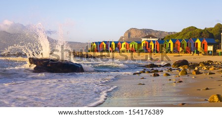 St James Beach with colourful huts, Cape Town, South Africa - stock photo
