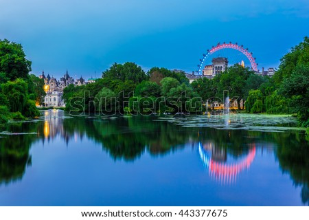 St. James Park in London at Night - stock photo