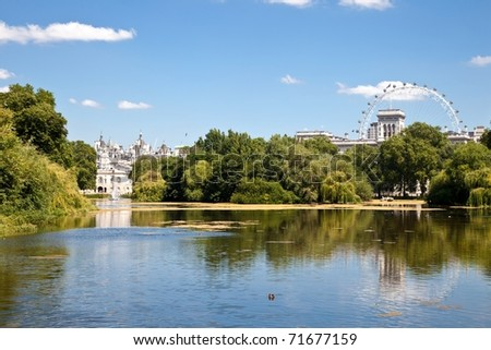 St James park is the oldest Royal park in Westminster, central London in England