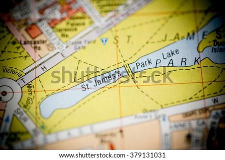 St. James's Park Lake. London, UK map. - stock photo