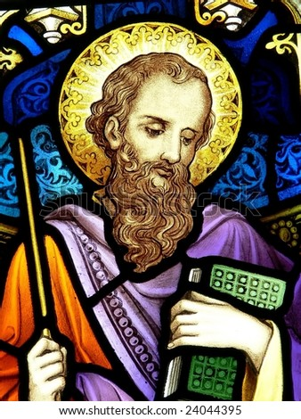 St. James, stained glass image - stock photo