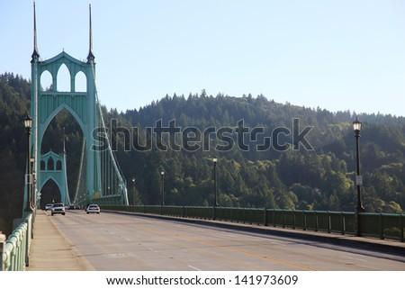 St. John bridge in Portland, Oregon, on a sunny day. - stock photo