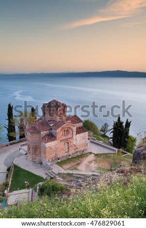 St John Kaneo church, Lake Ohrid at sunset, Macedonia