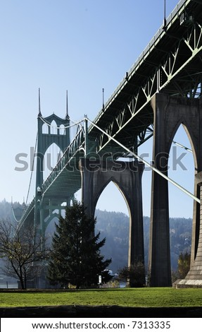 St. John's Bridge in Portland, Oregon, perspective - stock photo