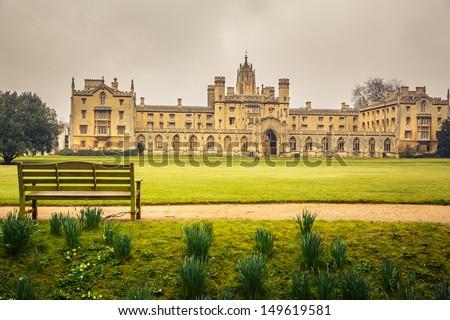 St John's College in Cambridge University - stock photo