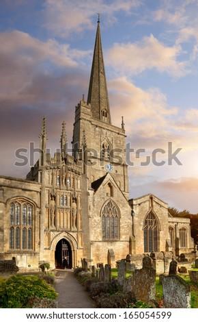 St. John the Baptist church, Burford Oxfordshire, England. - stock photo