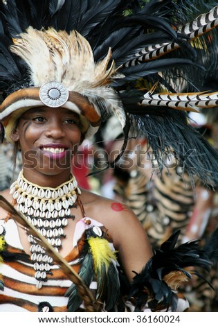 ST. JOHN, U.S. VIRGIN ISLANDS, JULY 9: Zulu Princess in St. John Carnival Parade, held July 9, 2009 in St. John, U.S. Virgin Island. - stock photo