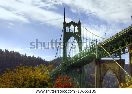 St.Johns bridge in the fall with a beautiful blue sky - stock photo
