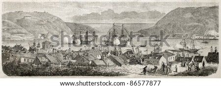 St Johns Newfoundland and Labrador old view (Prince of Wales arrival). Created by Lebreton after photo of Miot, published on L'Illustration, Journal Universel, Paris, 1860 - stock photo