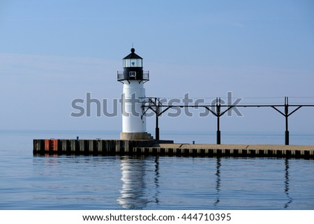 St. Joseph North Pier Outer Light, built in 1906, Lake Michigan, MI, USA - stock photo