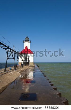 St. Joseph Northern Pier Lighthouse - stock photo