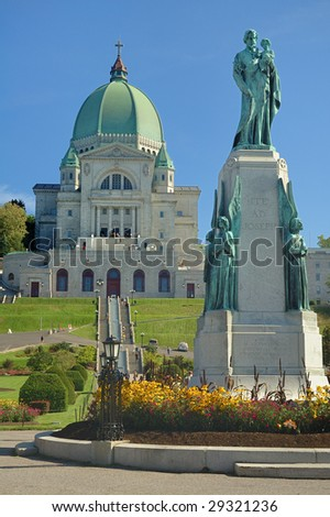 St. Joseph Oratory and St. Joseph monument, Montreal, Canada - stock photo