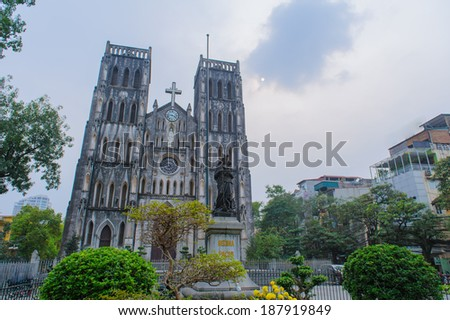 St Joseph's Cathedral in Hanoi, Vietnam - stock photo