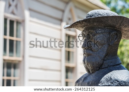 St. Joseph's Church statue of Father Damien - stock photo