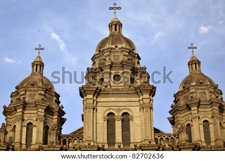 St. Joseph Wangfujing Cathedral, Basilica, Facade Steeples Church Beijing China.  Very famous Catholic Church built in 1655 and in Boxer Rebellion - stock photo