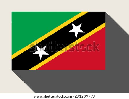 St Kitts and Nevis flag in flat web design style. - stock photo