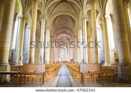 St. Loud Church, interior view. Angers. France