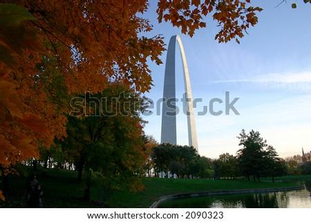 st. louis arch park view - stock photo