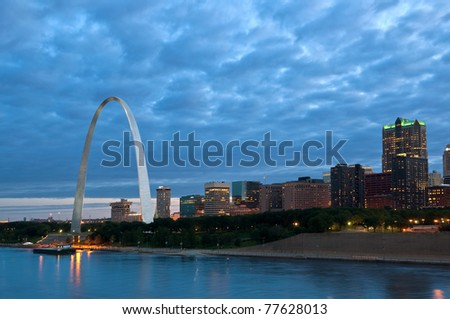 St. Louis at blue hour. - stock photo
