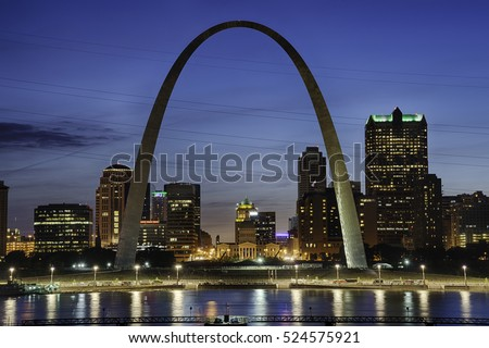 St. Louis at Night with Mississippi River.