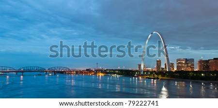 St. Louis at twilight blue hour. - stock photo