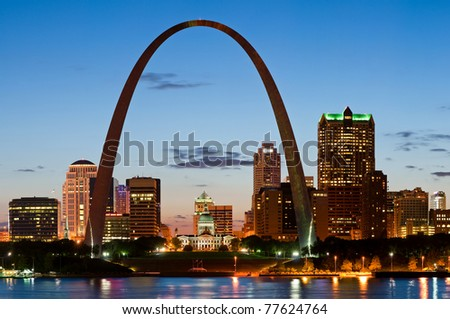 St. Louis at twilight. Long exposure shot. - stock photo