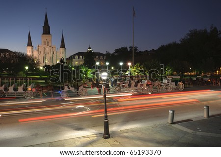 St. Louis Cathedral and car streaks - stock photo