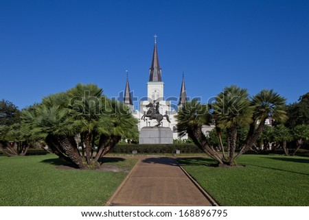 St. Louis Cathedral in Jackson Square, New Orleans, Louisiana - stock photo