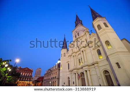 St. Louis Cathedral in the French Quarter, New Orleans, Louisiana USA - stock photo