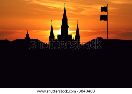 St Louis Cathedral Jackson Square New Orleans at sunset illustration - stock photo