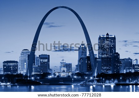 St. Louis downtown with Gateway Arch - stock photo