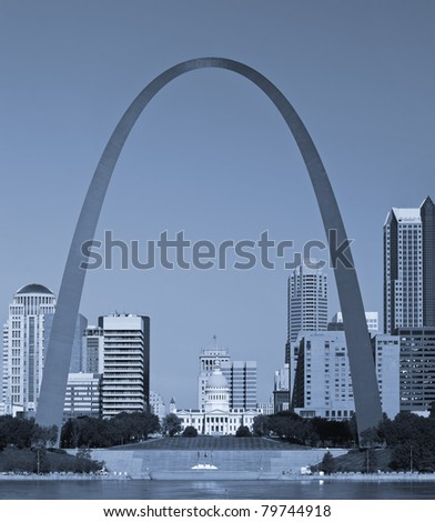 St. Louis downtown with Old Courthouse. - stock photo