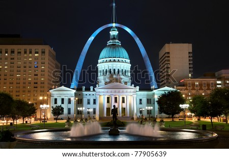 St. Louis downtown with Old Courthouse building at night - stock photo