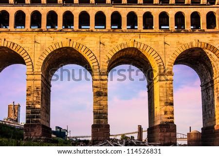 St. Louis Eads Bridge Roman arches in East St Louis Illinois - stock photo