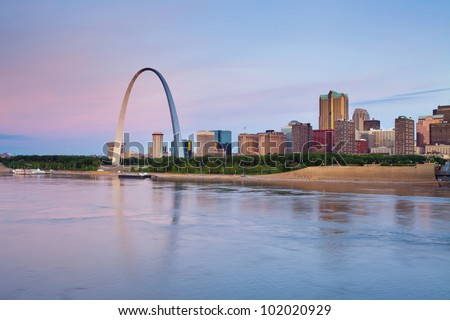 St. Louis. Image of St. Louis downtown with Gateway Arch at twilight. - stock photo