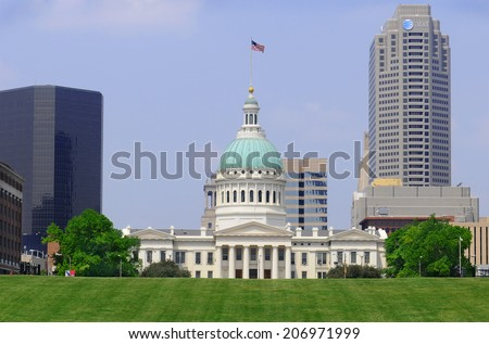 ST. LOUIS - MAY 19, 2013: The Old Courthouse seen from the Jefferson National Expansion Memorial near the Gateway Arch.The Old Courthouse site of the Dred Scott Decision was built in 1864. - stock photo